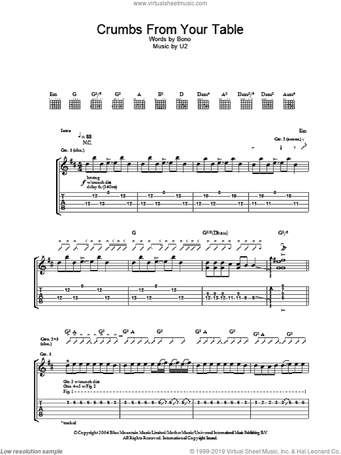 Crumbs From Your Table sheet music for guitar (tablature) by U2 and Bono, intermediate skill level