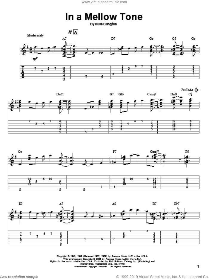 In A Mellow Tone sheet music for guitar solo by Milt Gabler and Duke Ellington. Score Image Preview.