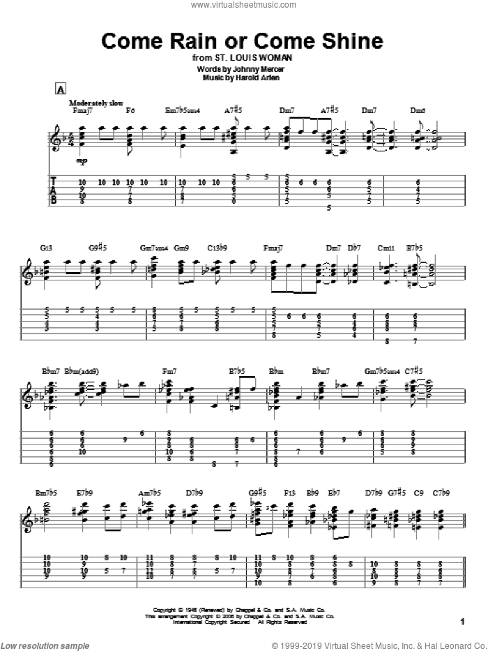 Come Rain Or Come Shine sheet music for guitar solo by Harold Arlen and Johnny Mercer. Score Image Preview.