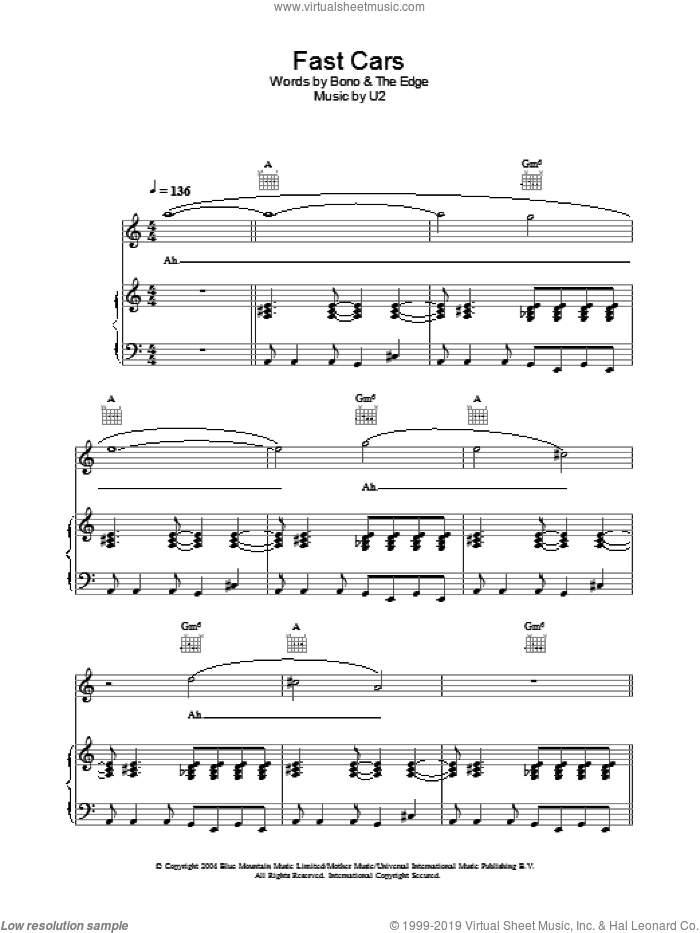 Fast Cars sheet music for voice, piano or guitar by The Edge