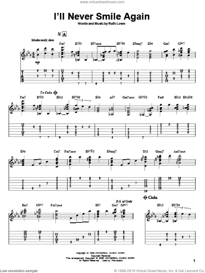 I'll Never Smile Again sheet music for guitar solo by Tommy Dorsey and Ruth Lowe, intermediate