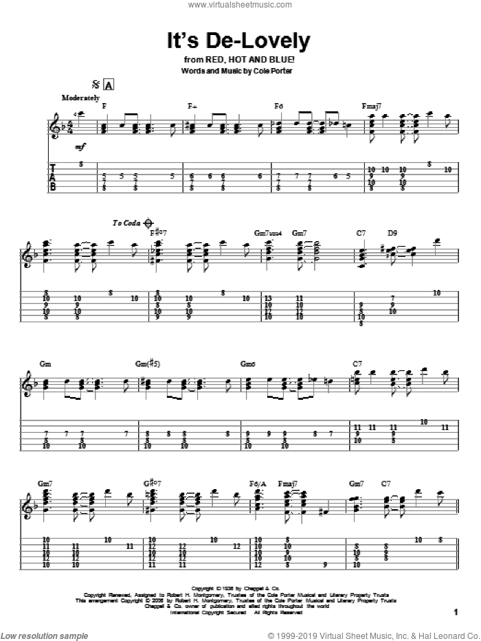 It's De-Lovely sheet music for guitar solo by Cole Porter