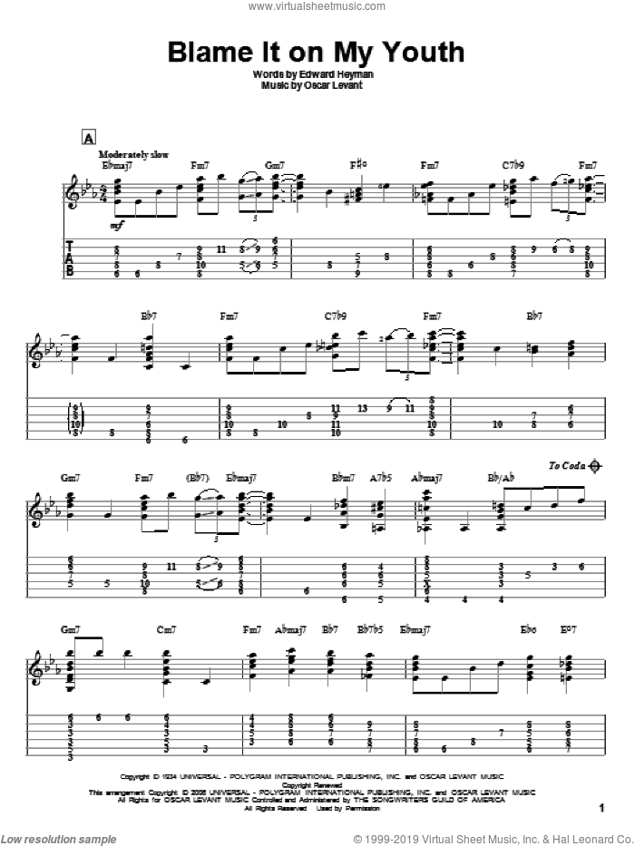 Blame It On My Youth sheet music for guitar solo by Edward Heyman, intermediate. Score Image Preview.