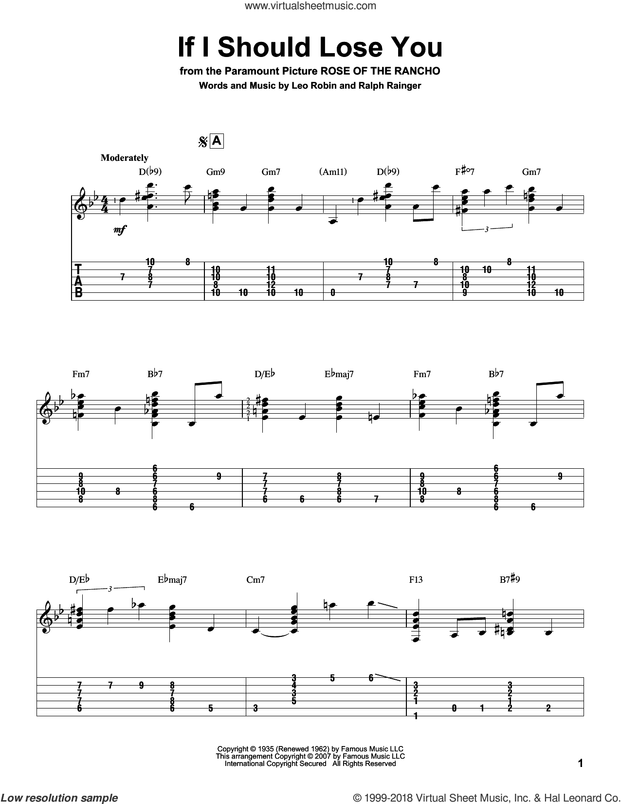 If I Should Lose You sheet music for guitar solo by Ralph Rainger, Phineas Newborn and Leo Robin. Score Image Preview.