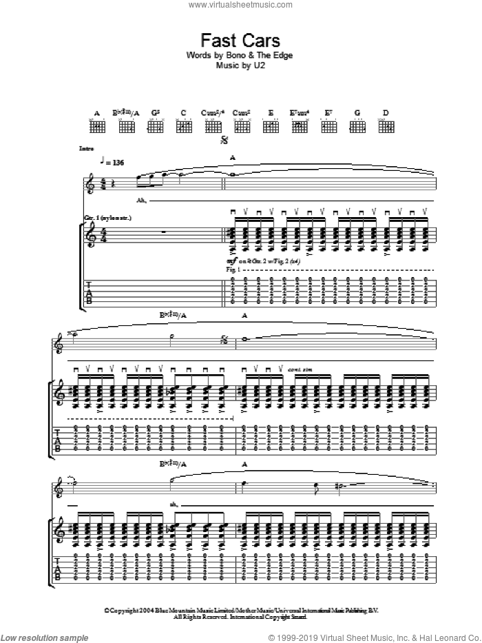 Fast Cars sheet music for guitar (tablature) by The Edge, Bono and U2. Score Image Preview.
