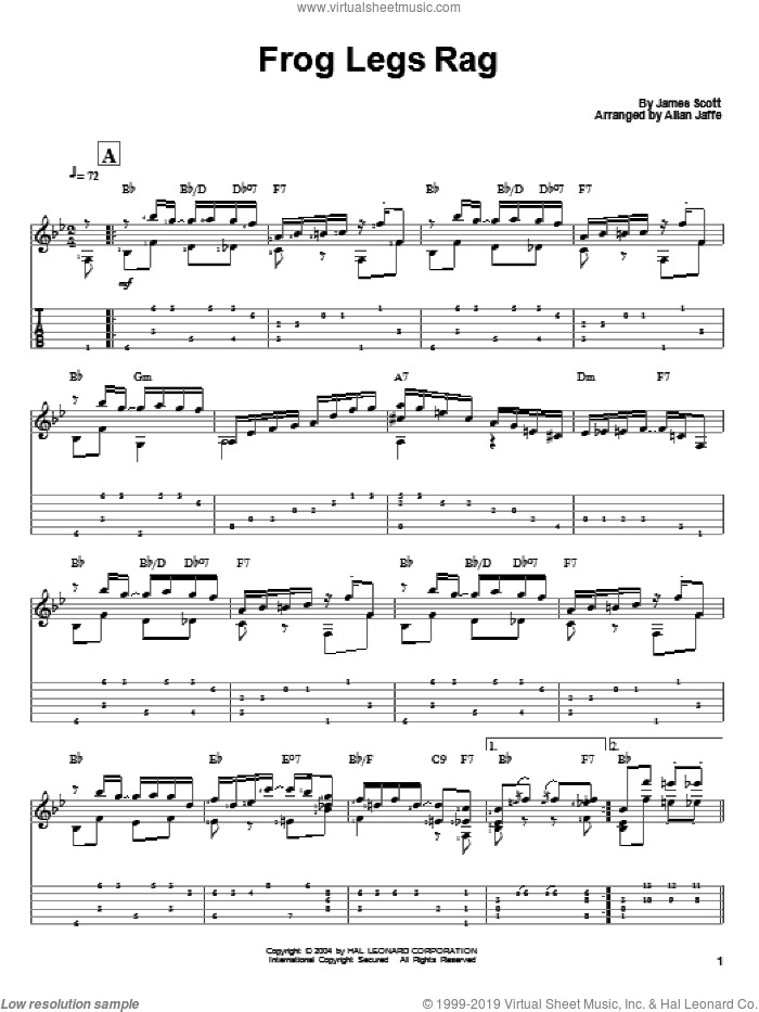 Frog Legs Rag sheet music for guitar solo by James Scott, intermediate guitar. Score Image Preview.