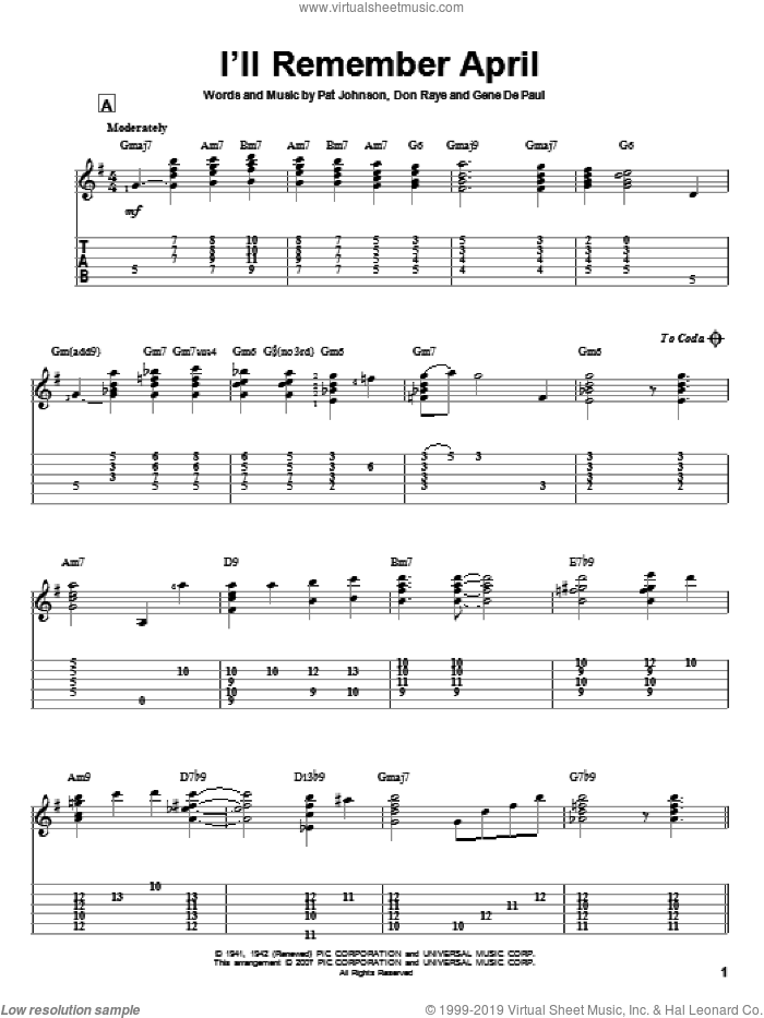 I'll Remember April sheet music for guitar solo by Pat Johnston, Woody Herman, Don Raye and Gene DePaul. Score Image Preview.