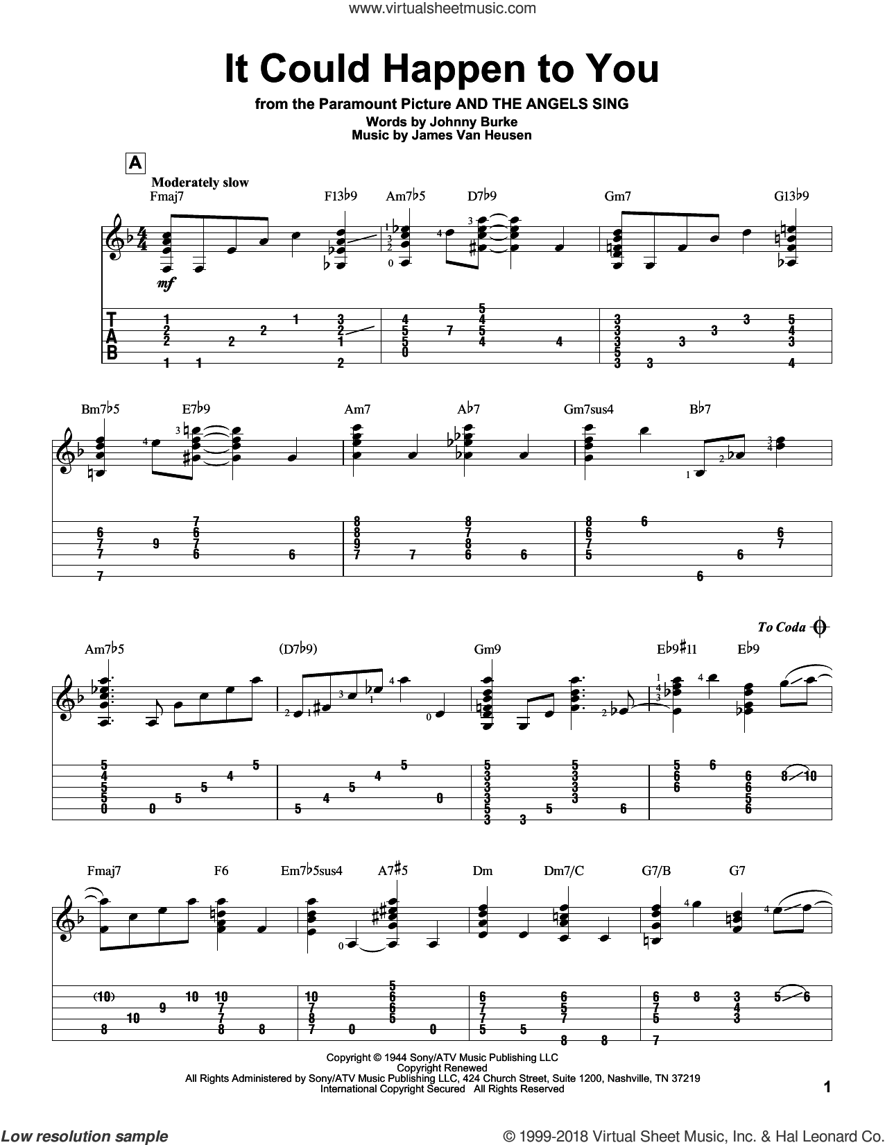 It Could Happen To You sheet music for guitar solo by John Burke, Frank Sinatra and Jimmy van Heusen. Score Image Preview.