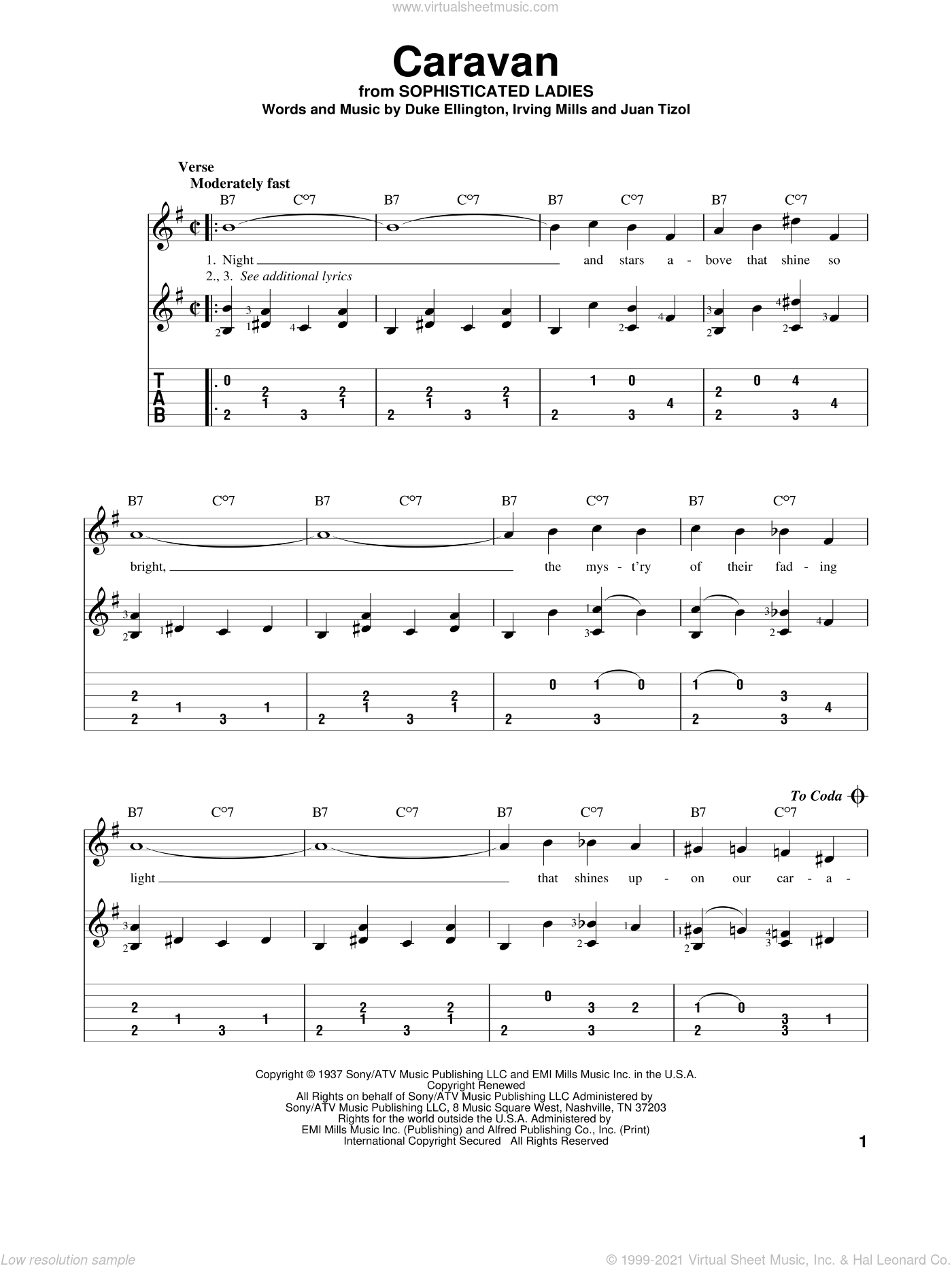 Caravan sheet music for guitar solo by Juan Tizol, Billy Eckstine, Ralph Marterie, Duke Ellington and Irving Mills. Score Image Preview.