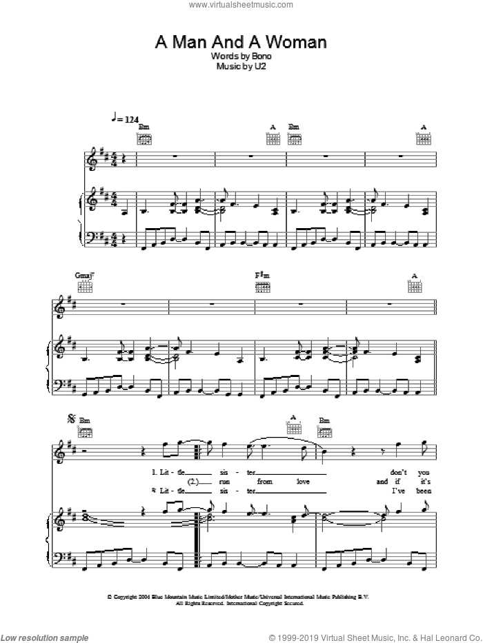 A Man And A Woman sheet music for voice, piano or guitar by U2 and Bono, intermediate