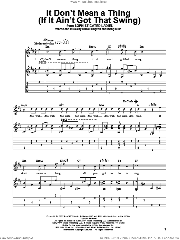 It Don't Mean A Thing (If It Ain't Got That Swing) sheet music for guitar solo by Duke Ellington and Irving Mills, intermediate. Score Image Preview.
