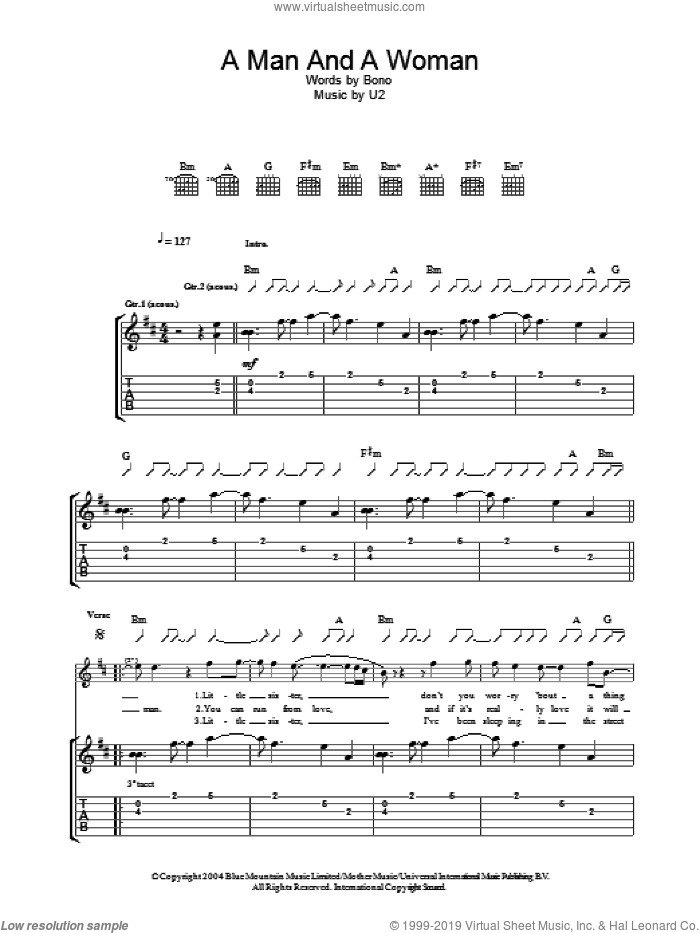 A Man And A Woman sheet music for guitar (tablature) by U2 and Bono, intermediate skill level