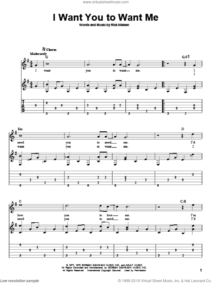 I Want You To Want Me sheet music for guitar solo by Rick Nielsen and Cheap Trick