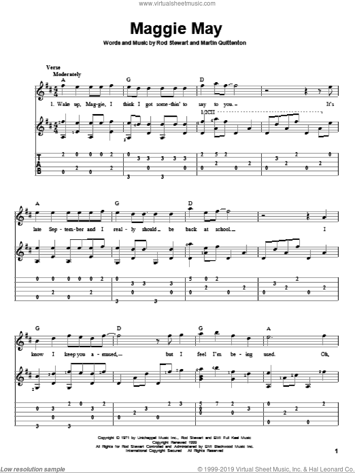 Maggie May sheet music for guitar solo by Martin Quittenton