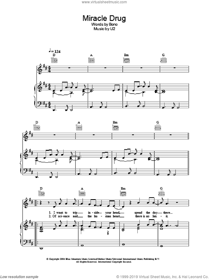 Miracle Drug sheet music for voice, piano or guitar by U2 and Bono, intermediate skill level