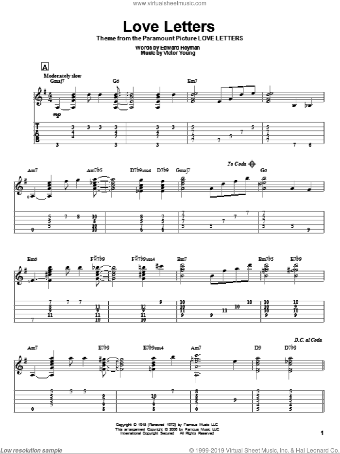 Love Letters sheet music for guitar solo by Edward Heyman, Jeff Arnold and Victor Young, intermediate skill level
