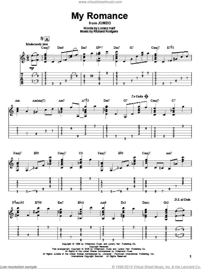 My Romance sheet music for guitar solo by Richard Rodgers, Rodgers & Hart and Lorenz Hart. Score Image Preview.