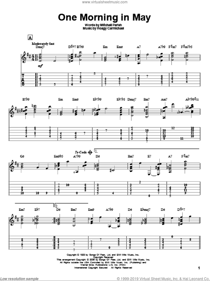 One Morning In May sheet music for guitar solo by Hoagy Carmichael
