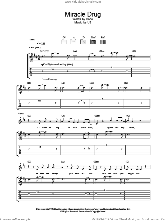 Miracle Drug sheet music for guitar (tablature) by Bono and U2. Score Image Preview.