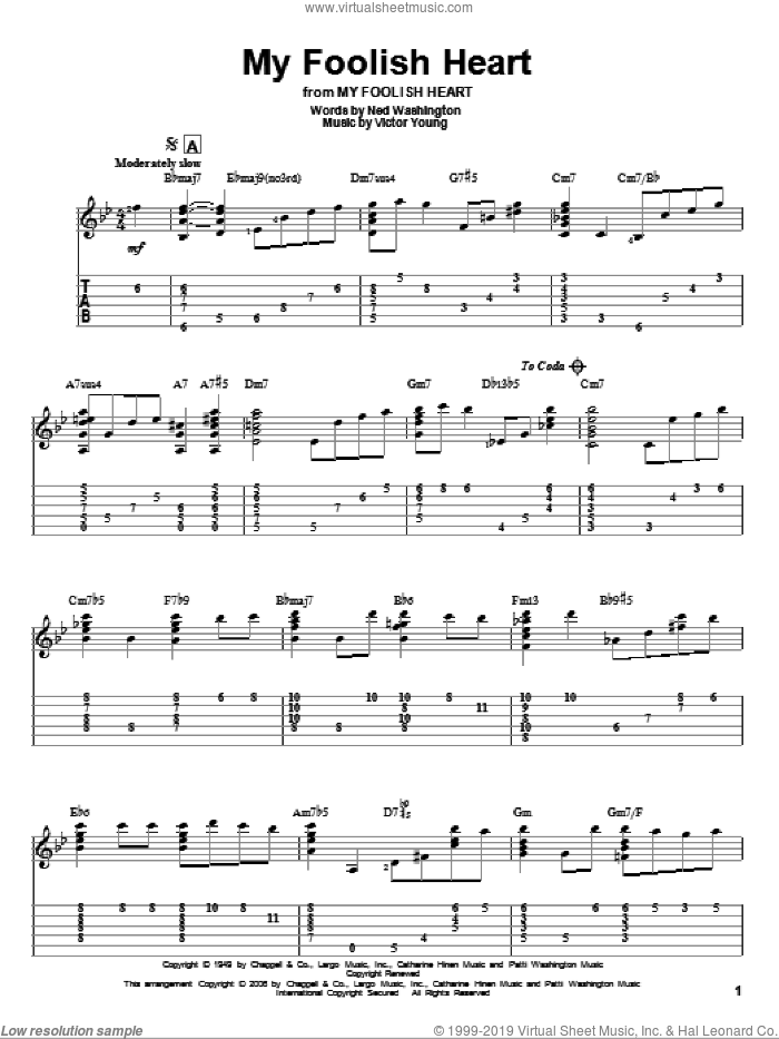 My Foolish Heart sheet music for guitar solo by Ned Washington and Victor Young, intermediate guitar. Score Image Preview.