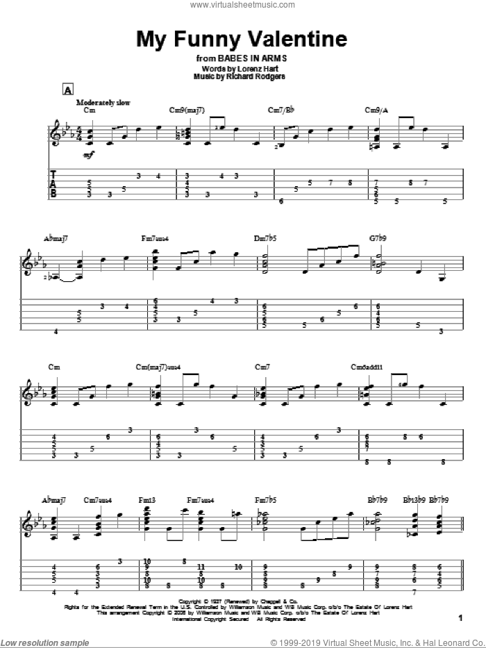 My Funny Valentine sheet music for guitar solo by Richard Rodgers