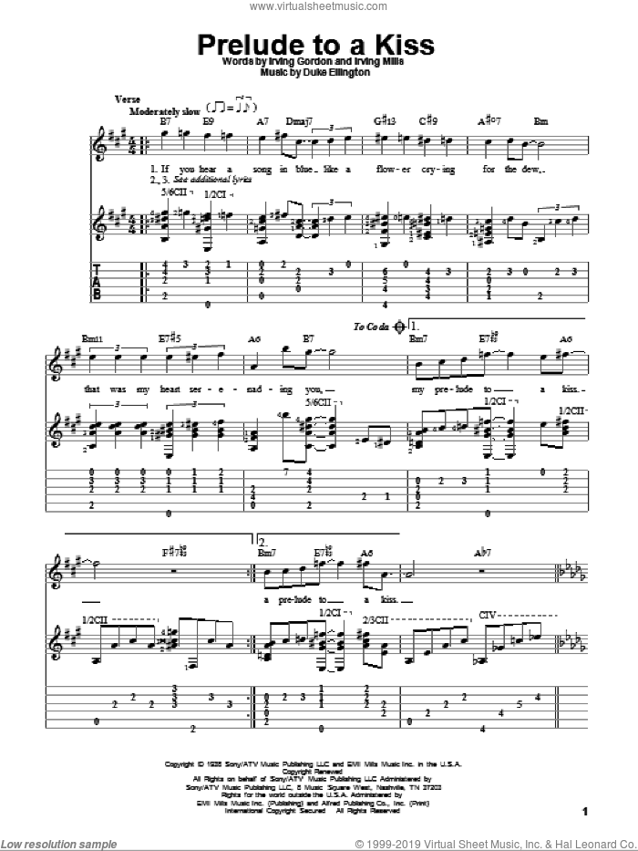 Prelude To A Kiss sheet music for guitar solo by Duke Ellington, Irving Gordon and Irving Mills, intermediate