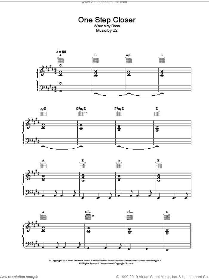 One Step Closer sheet music for voice, piano or guitar by Bono and U2. Score Image Preview.