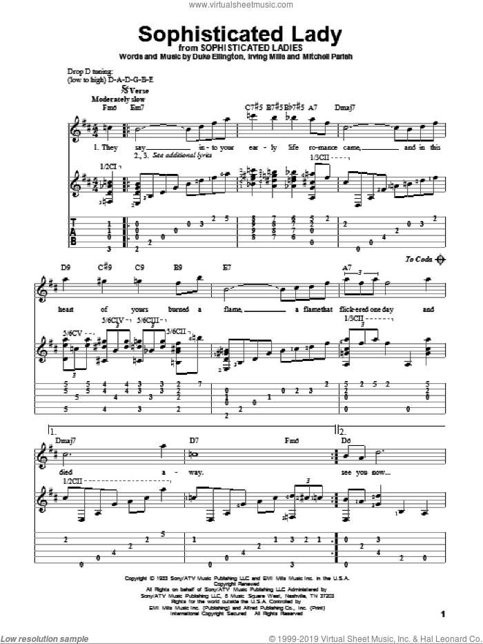 Sophisticated Lady sheet music for guitar solo by Mitchell Parish, Duke Ellington and Irving Mills. Score Image Preview.