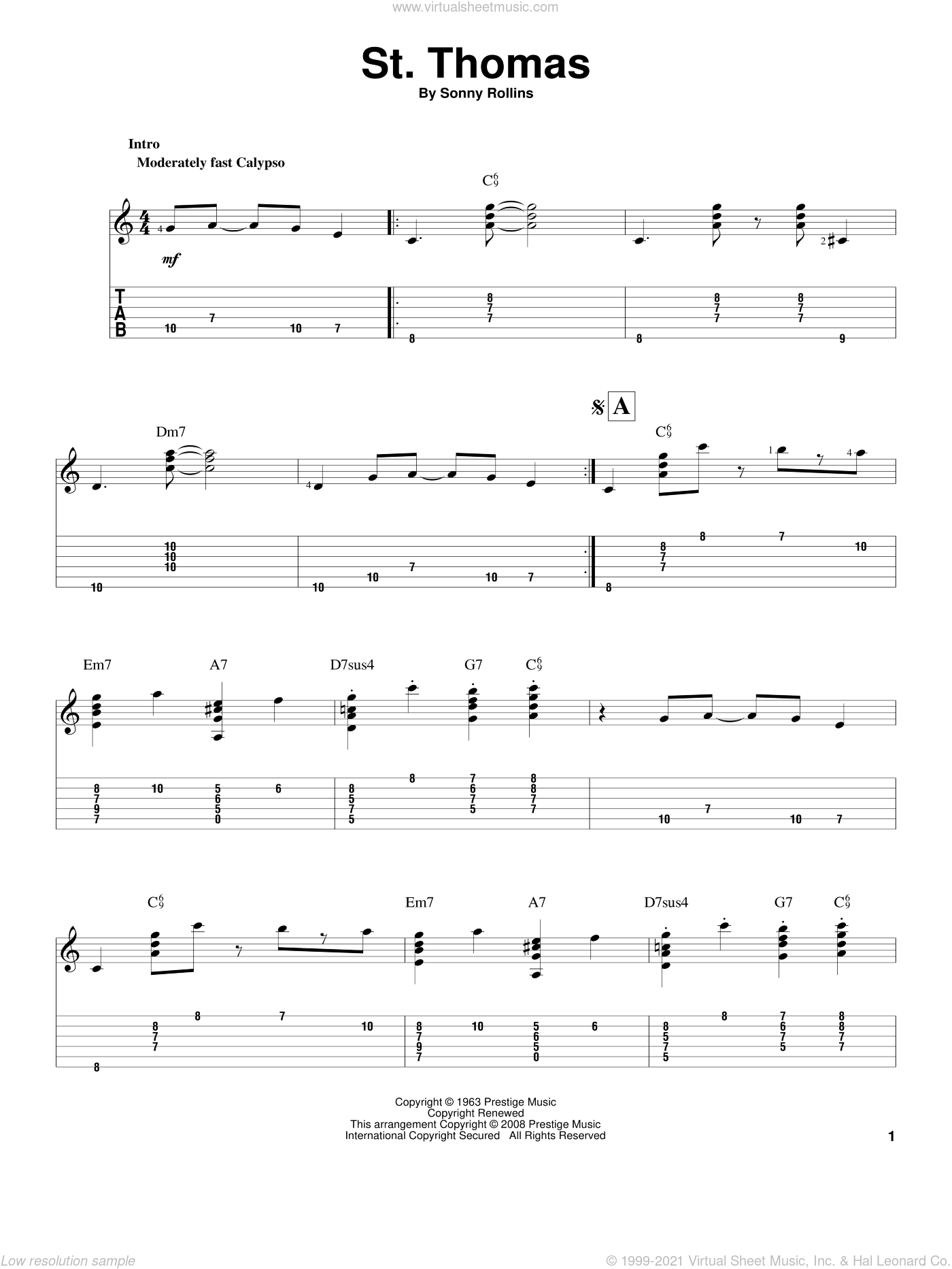 St. Thomas sheet music for guitar solo by Sonny Rollins