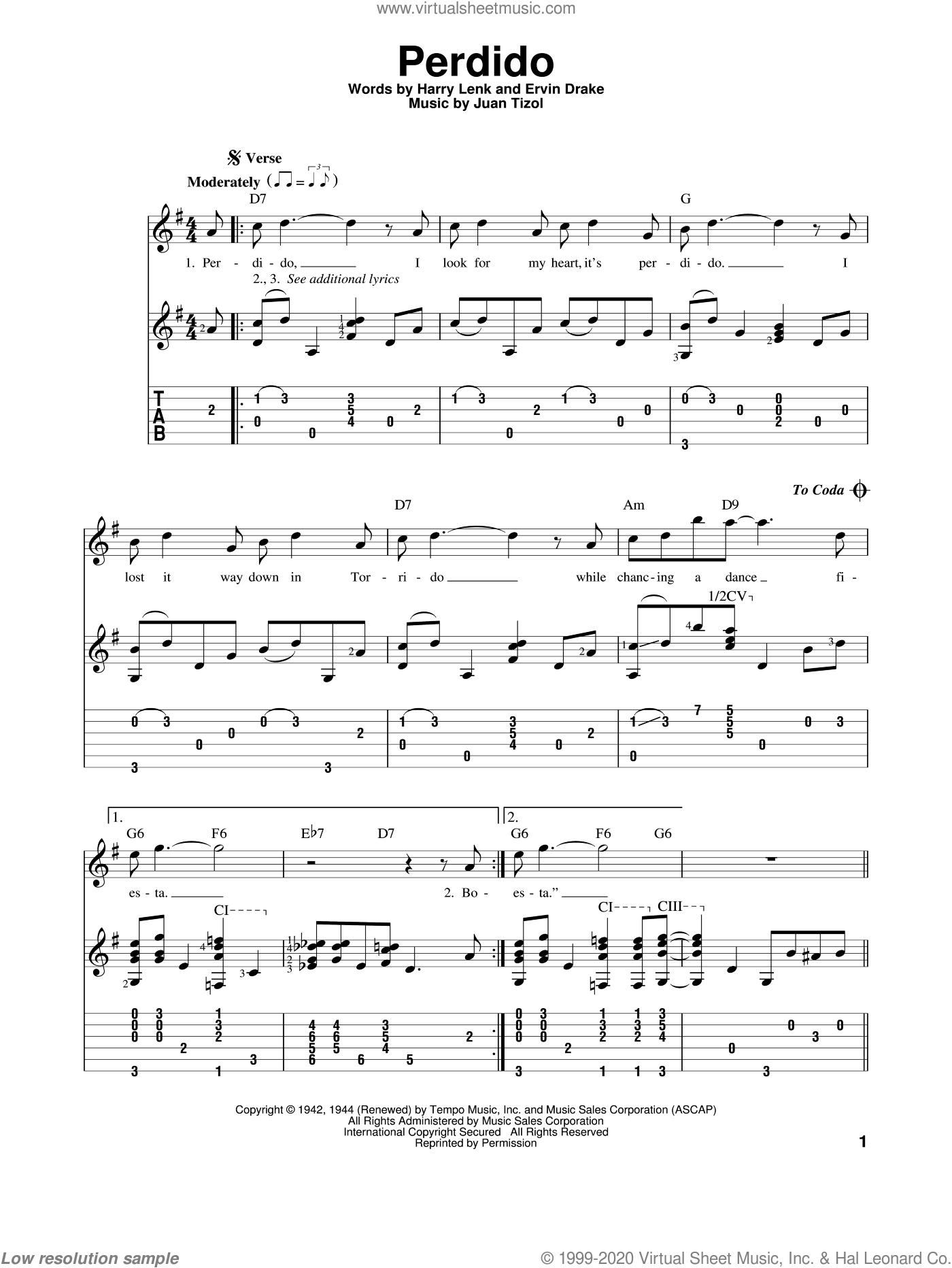 Perdido sheet music for guitar solo by Juan Tizol, Duke Ellington and Ervin Drake. Score Image Preview.