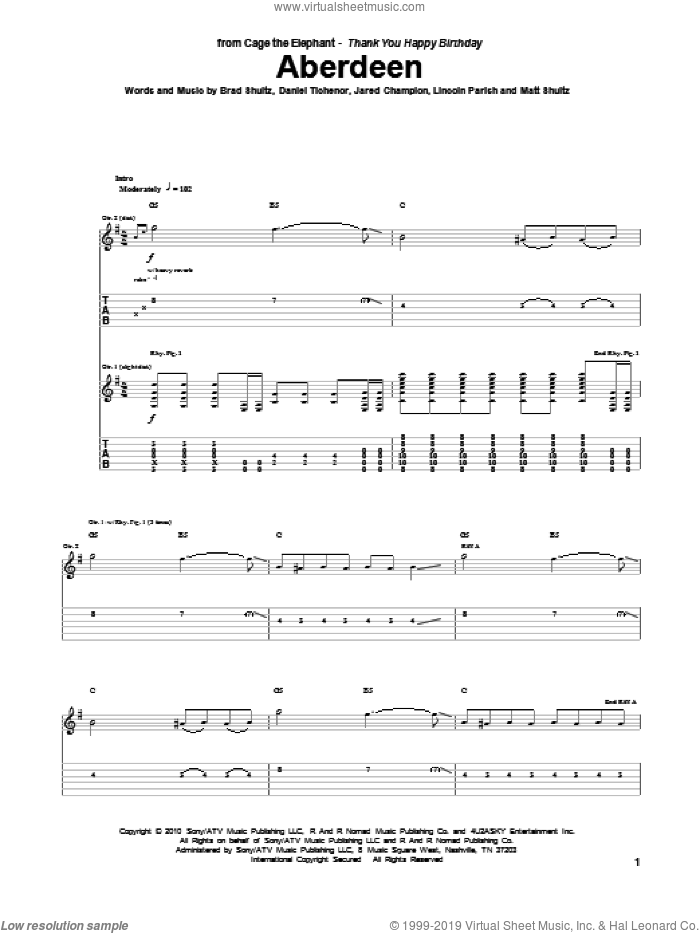 Aberdeen sheet music for guitar (tablature) by Cage The Elephant. Score Image Preview.