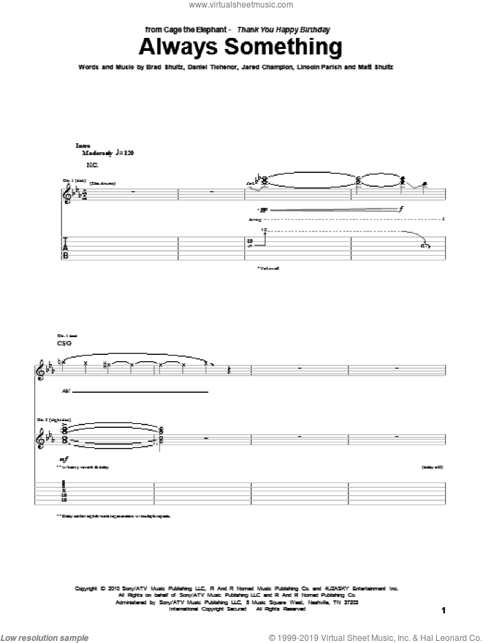 Always Something sheet music for guitar (tablature) by Cage The Elephant, Brad Shultz, Daniel Tichenor, Jared Champion, Lincoln Parish and Matt Shultz, intermediate skill level