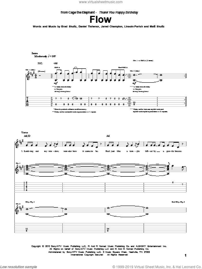 Flow sheet music for guitar (tablature) by Matt Shultz. Score Image Preview.