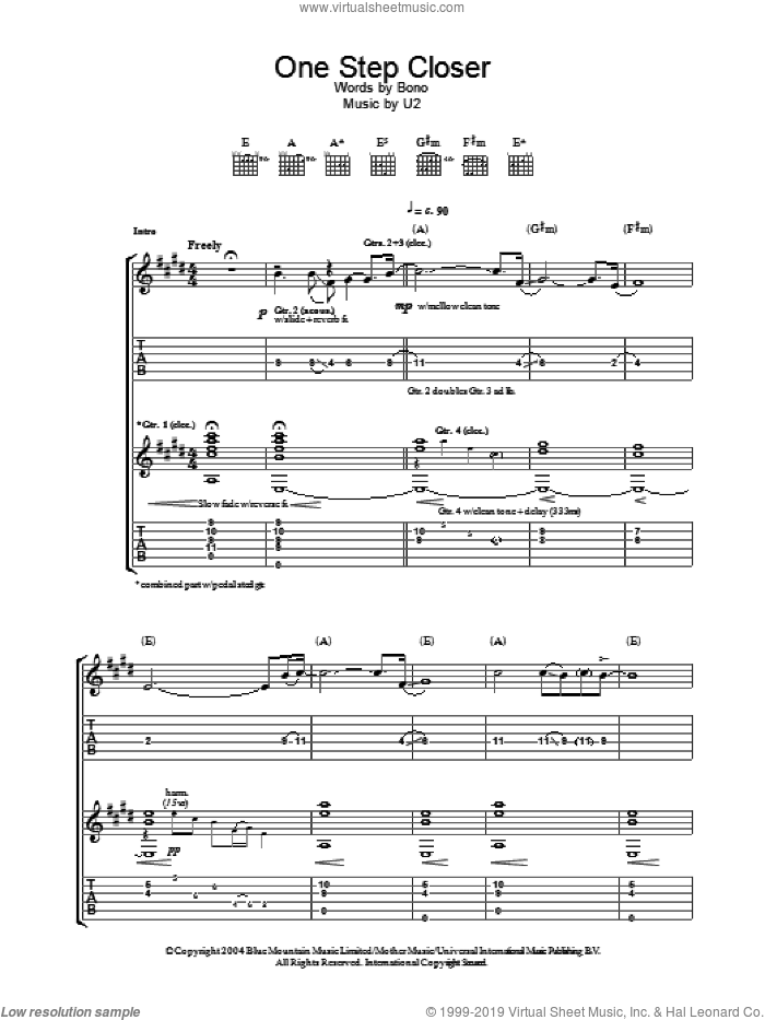 One Step Closer sheet music for guitar (tablature) by Bono and U2. Score Image Preview.