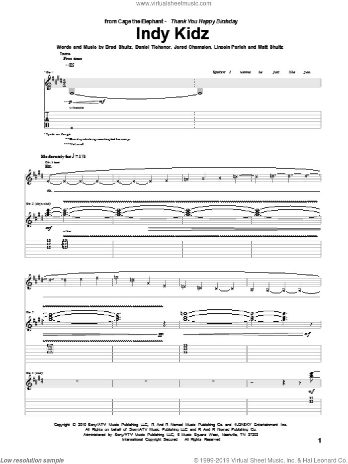 Indy Kidz sheet music for guitar (tablature) by Cage The Elephant, intermediate. Score Image Preview.