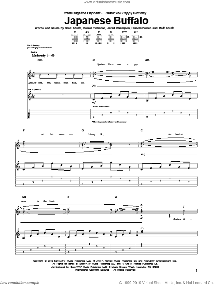 Japanese Buffalo sheet music for guitar (tablature) by Matt Shultz. Score Image Preview.