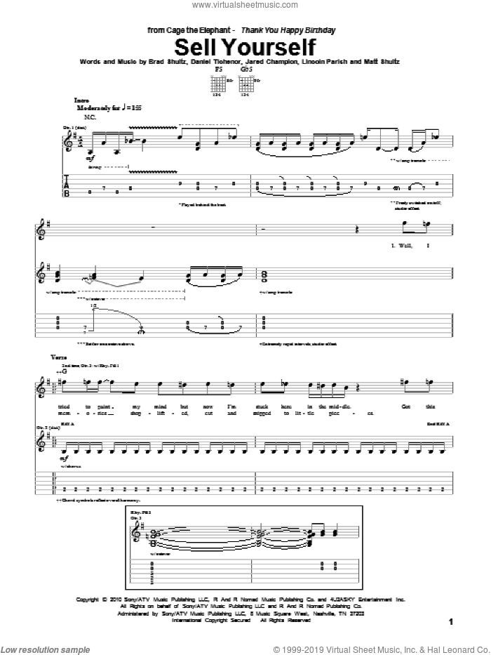 Sell Yourself sheet music for guitar (tablature) by Cage The Elephant, Brad Shultz, Daniel Tichenor, Jared Champion, Lincoln Parish and Matt Shultz, intermediate skill level