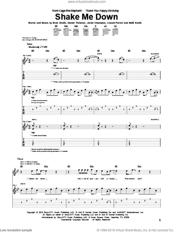 Shake Me Down sheet music for guitar (tablature) by Matt Shultz. Score Image Preview.