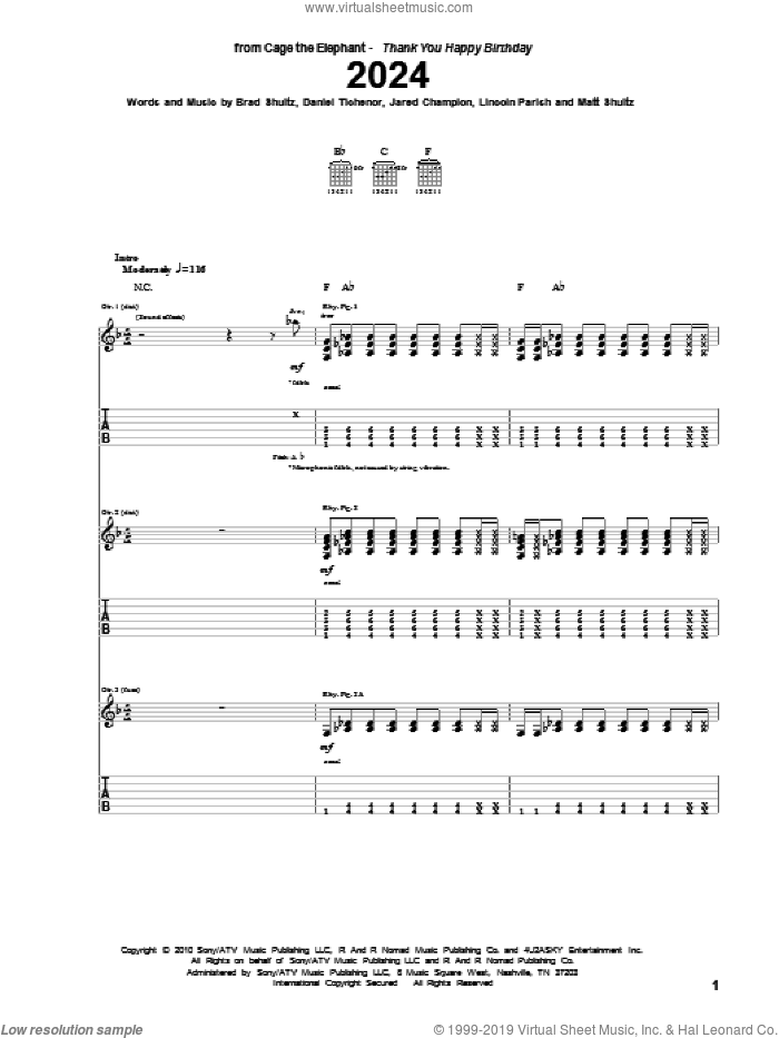 2024 sheet music for guitar (tablature) by Matt Shultz. Score Image Preview.