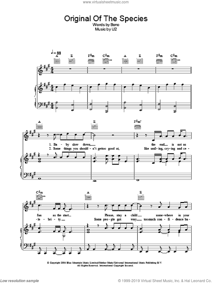 Original Of The Species sheet music for voice, piano or guitar by U2 and Bono, intermediate skill level