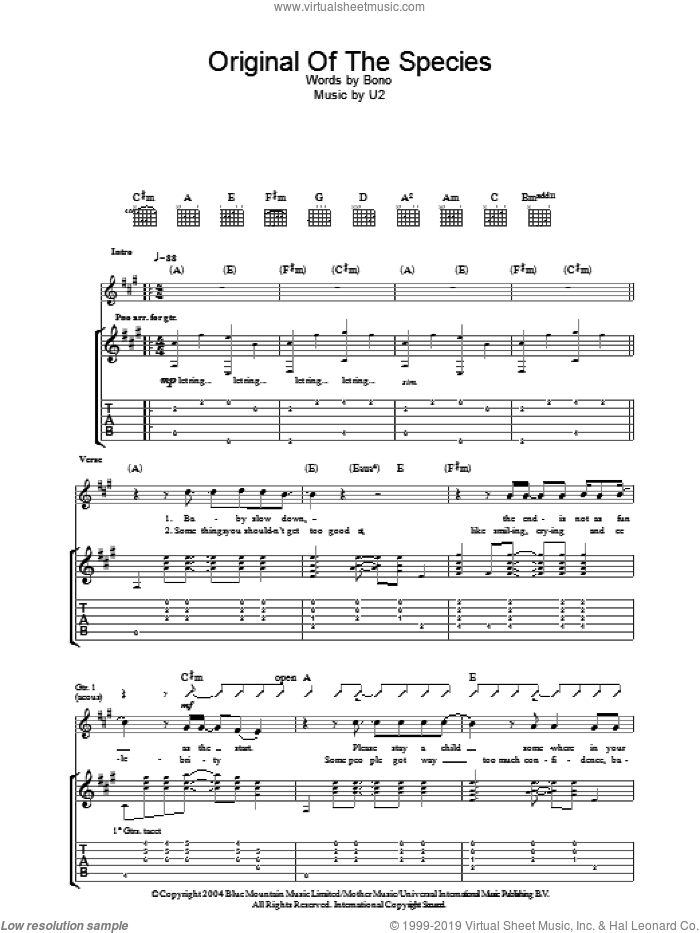 Original Of The Species sheet music for guitar (tablature) by U2 and Bono, intermediate. Score Image Preview.