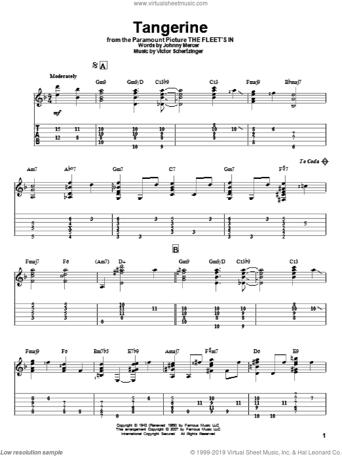 Tangerine sheet music for guitar solo by Johnny Mercer, Jeff Arnold and Victor Schertzinger, intermediate skill level