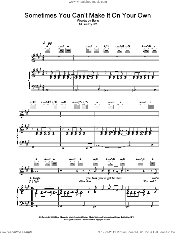 Sometimes You Can't Make It On Your Own sheet music for voice, piano or guitar by U2 and Bono, intermediate skill level