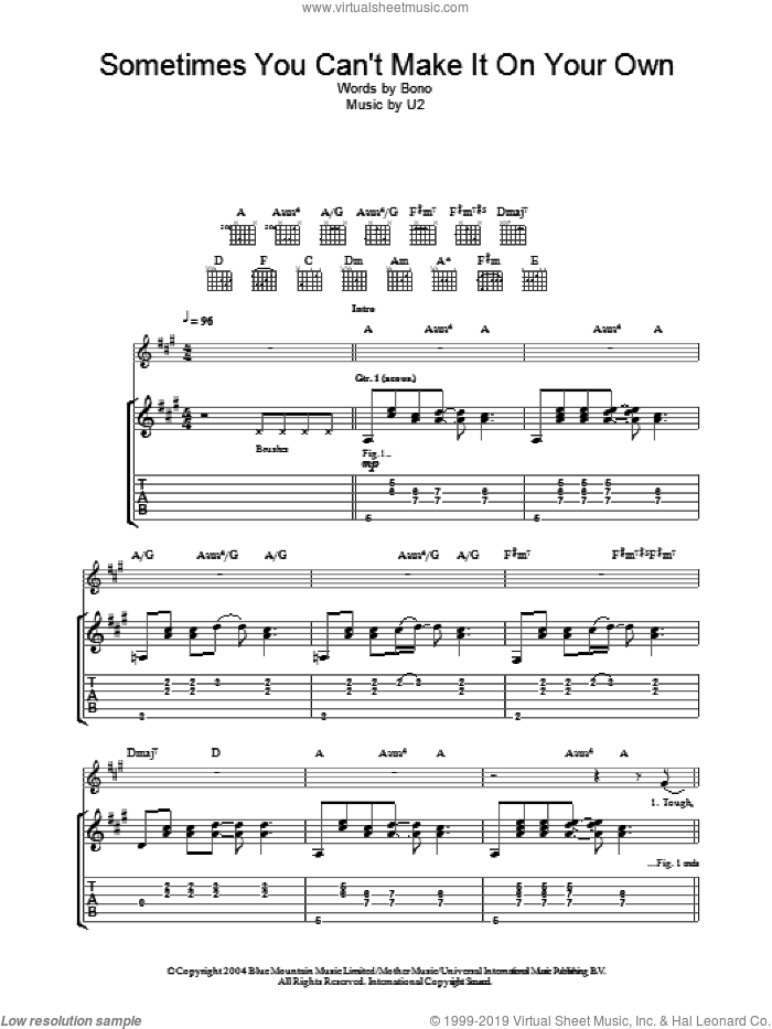 Sometimes You Can't Make It On Your Own sheet music for guitar (tablature) by U2 and Bono, intermediate. Score Image Preview.