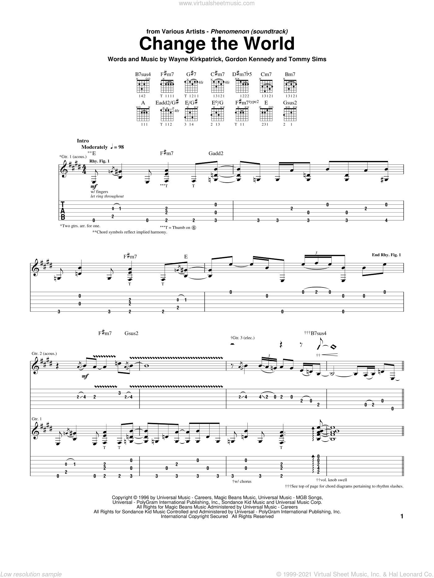 Change The World sheet music for guitar (tablature) by Wayne Kirkpatrick, Eric Clapton, Wynonna, Gordon Kennedy and Tommy Sims. Score Image Preview.
