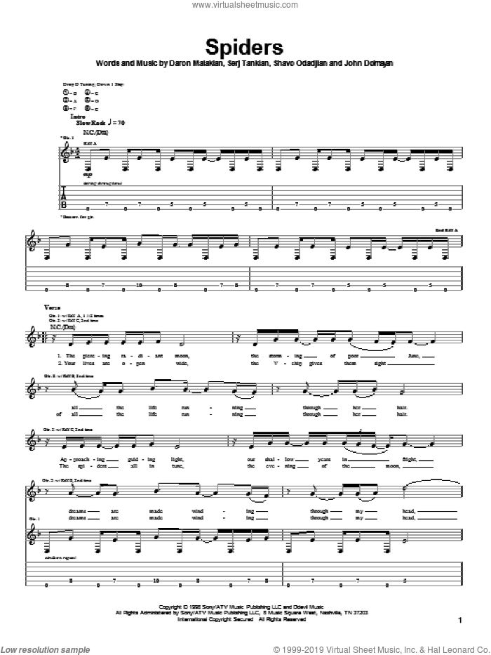 Spiders sheet music for guitar (tablature) by Shavo Odadjian, System Of A Down and Serj Tankian. Score Image Preview.