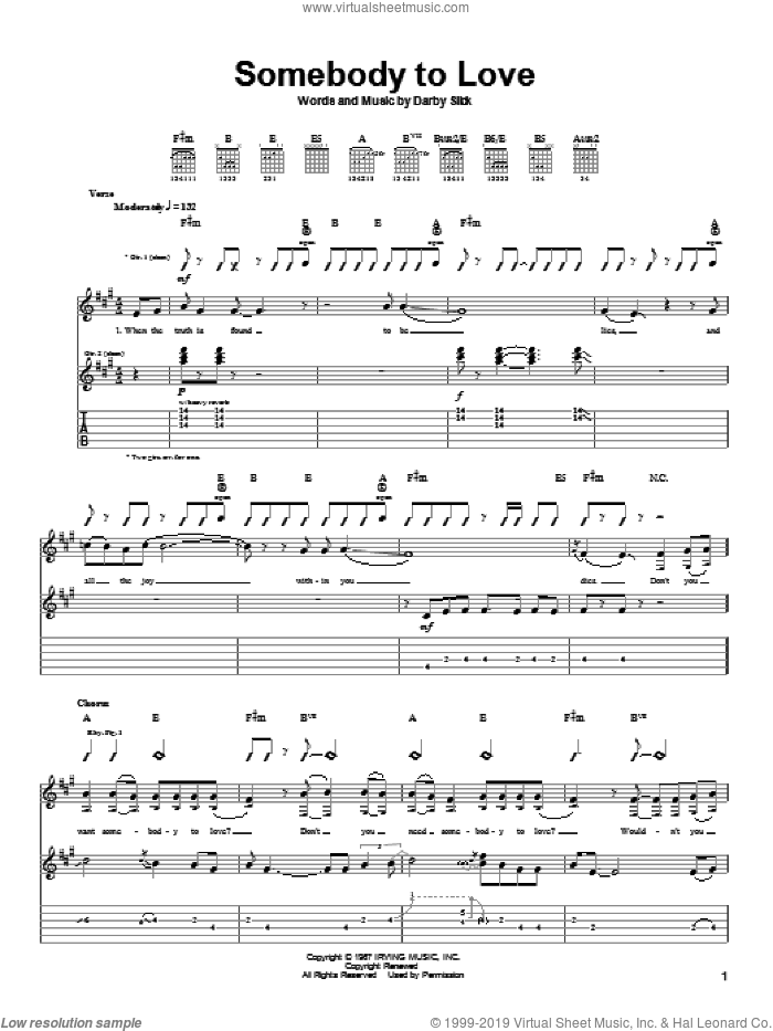 Somebody To Love sheet music for guitar (tablature) by Jefferson Airplane and Darby Slick, intermediate skill level