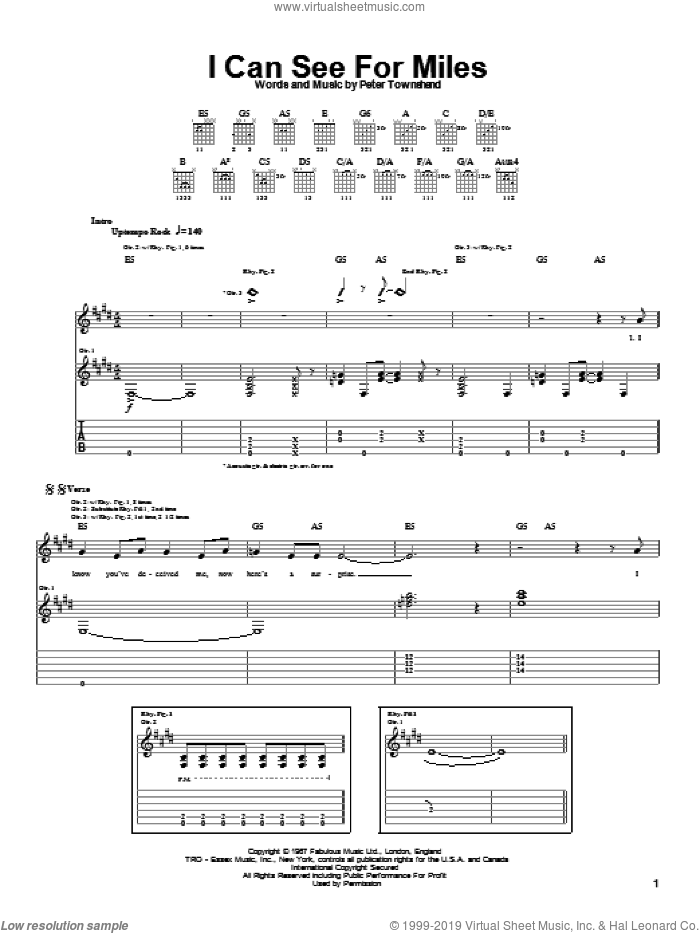 I Can See For Miles sheet music for guitar (tablature) by Pete Townshend and The Who. Score Image Preview.