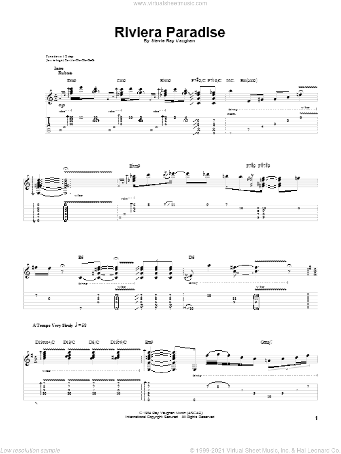 Riviera Paradise sheet music for guitar (tablature) by Stevie Ray Vaughan. Score Image Preview.