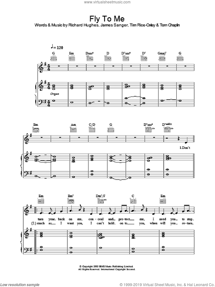 Fly To Me sheet music for voice, piano or guitar by Tim Rice-Oxley. Score Image Preview.